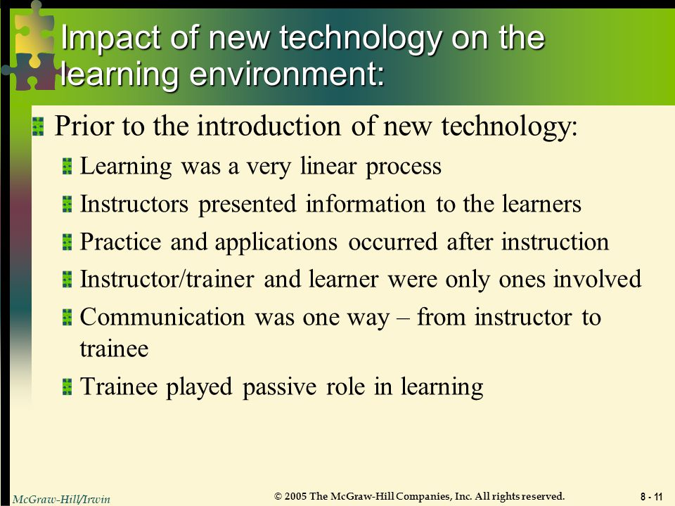 Impact of new technology on the learning environment: