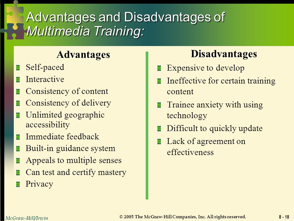 Advantages and Disadvantages of Multimedia Training: