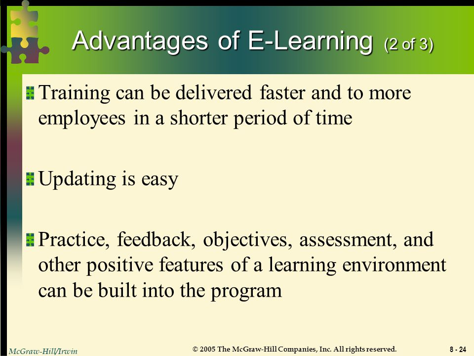 Advantages of E-Learning (2 of 3)