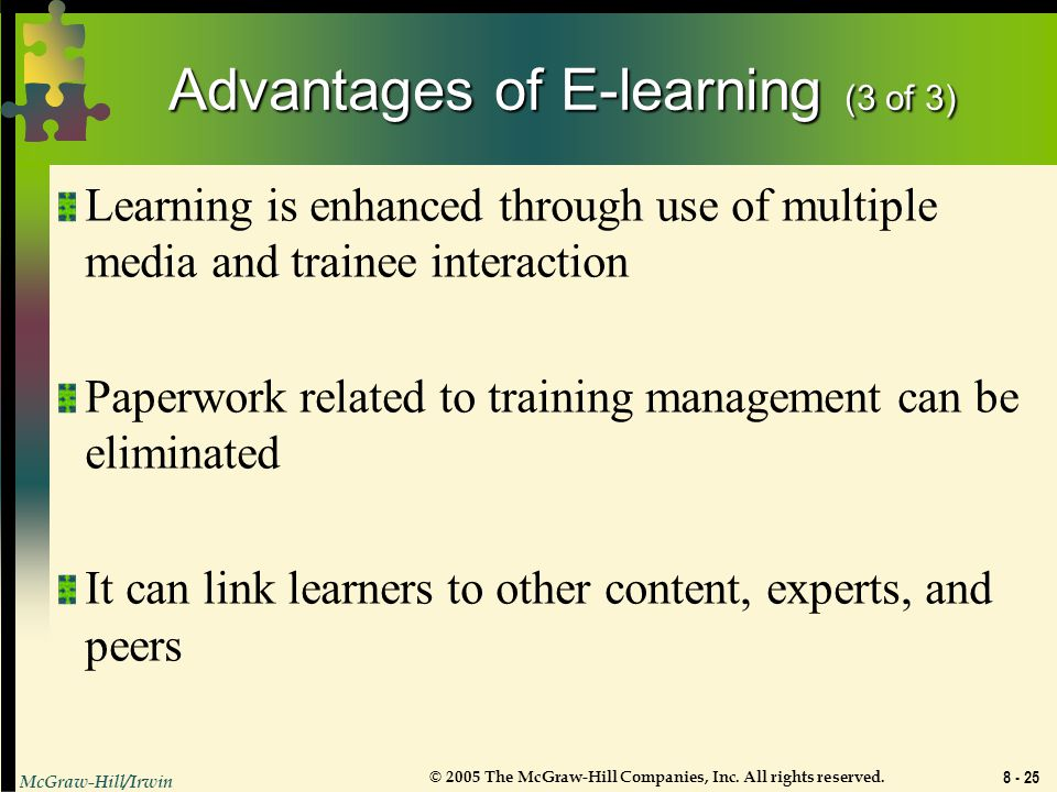 Advantages of E-learning (3 of 3)