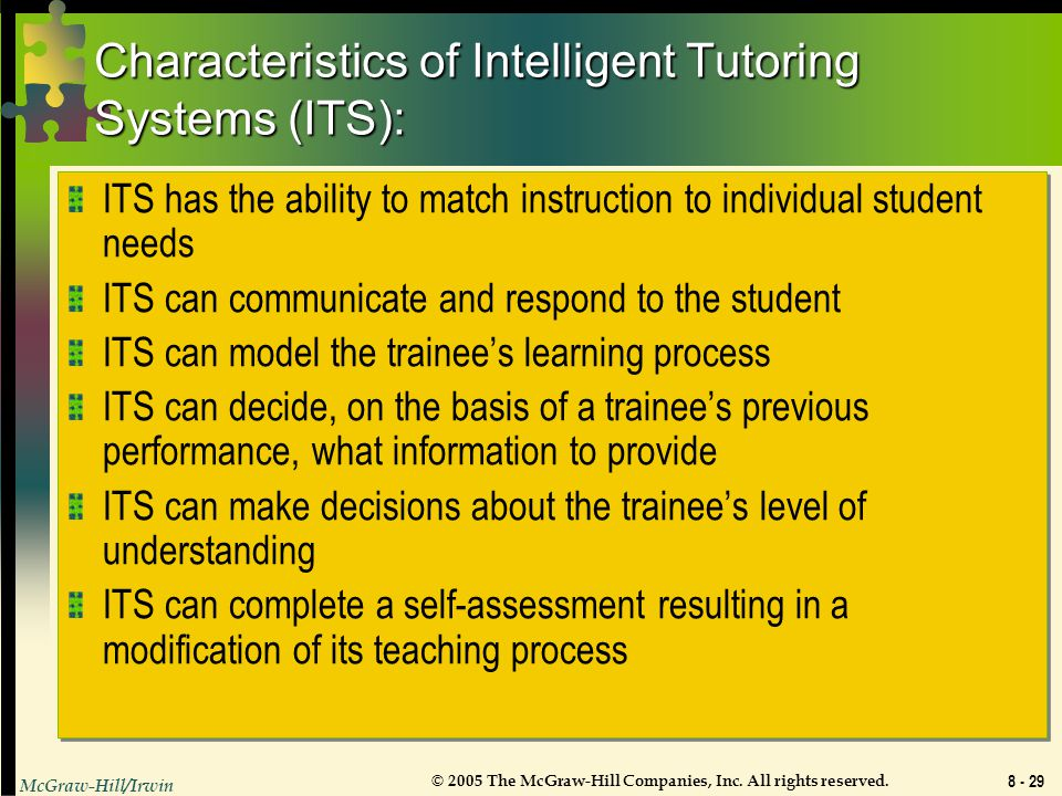 Characteristics of Intelligent Tutoring Systems (ITS):