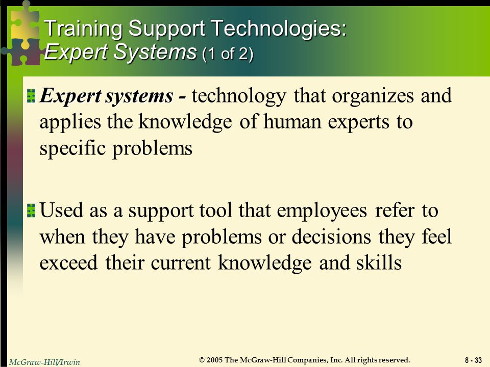 Training Support Technologies: Expert Systems (1 of 2)