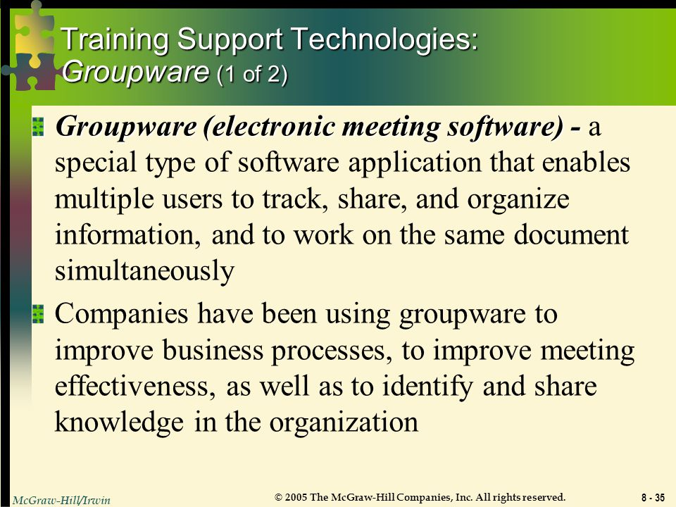 Training Support Technologies: Groupware (1 of 2)