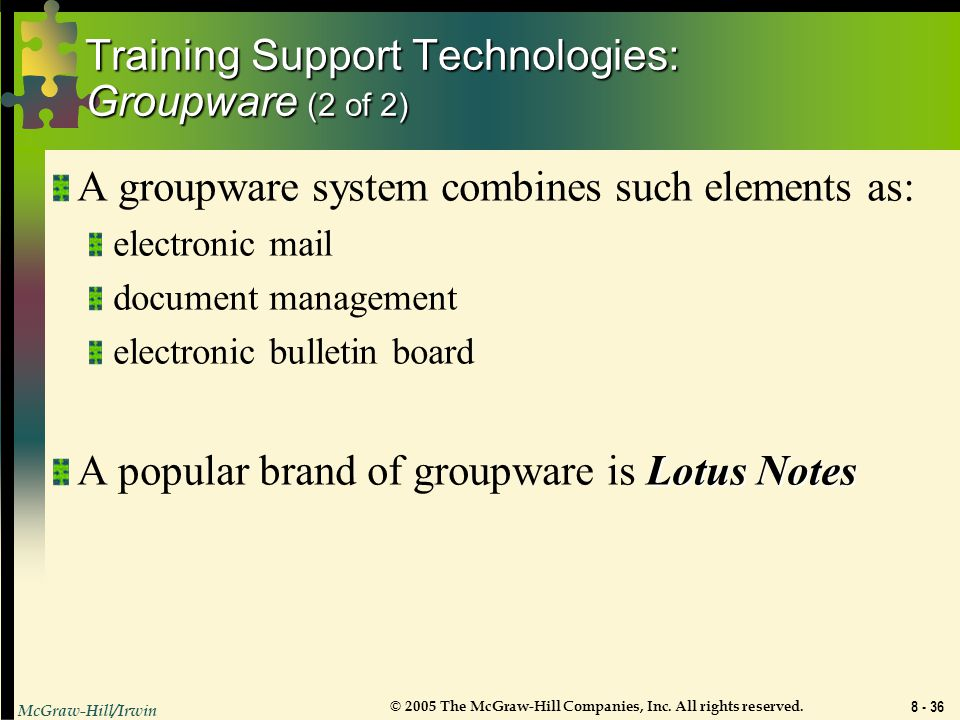Training Support Technologies: Groupware (2 of 2)