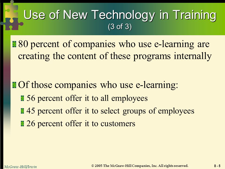 Use of New Technology in Training (3 of 3)