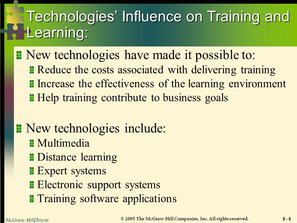 Technologies' Influence on Training and Learning: