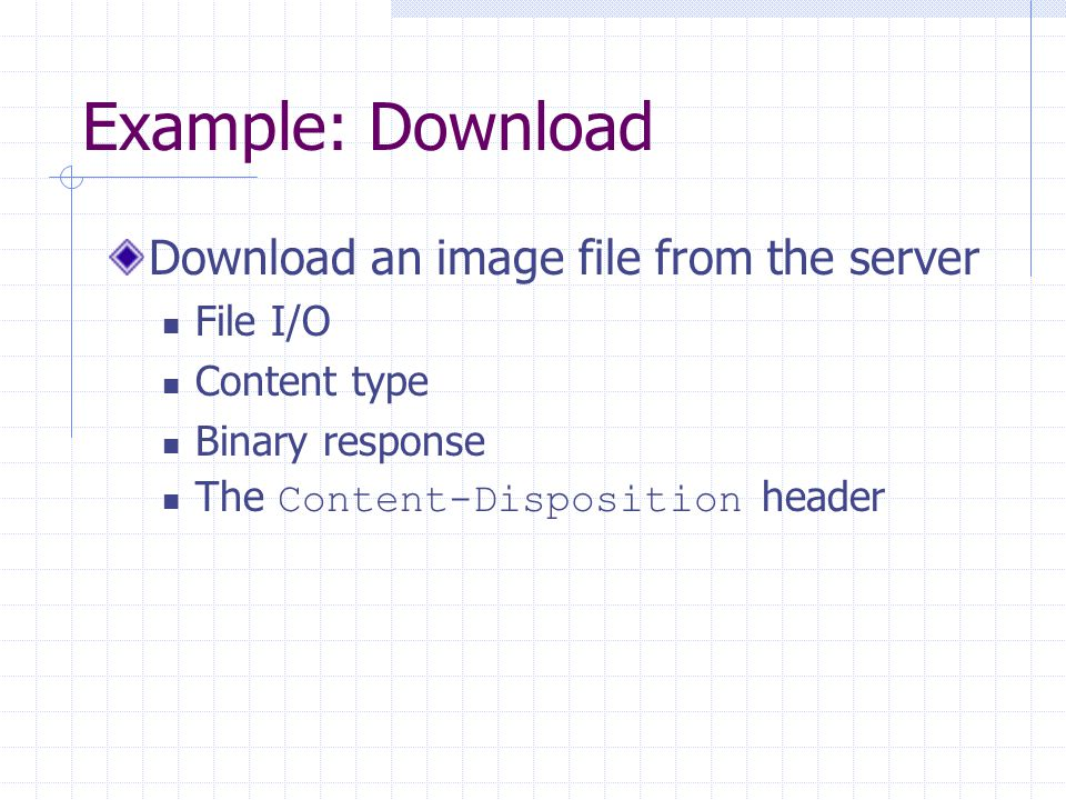 Example: Download Download an image file from the server File I/O