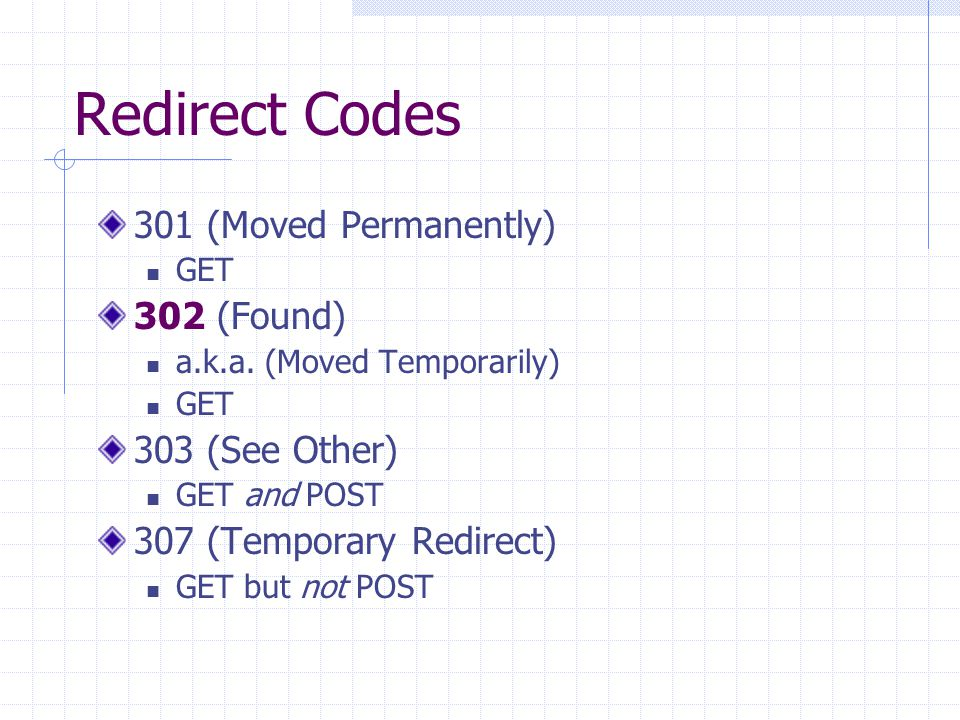 Redirect Codes 301 (Moved Permanently) 302 (Found) 303 (See Other)