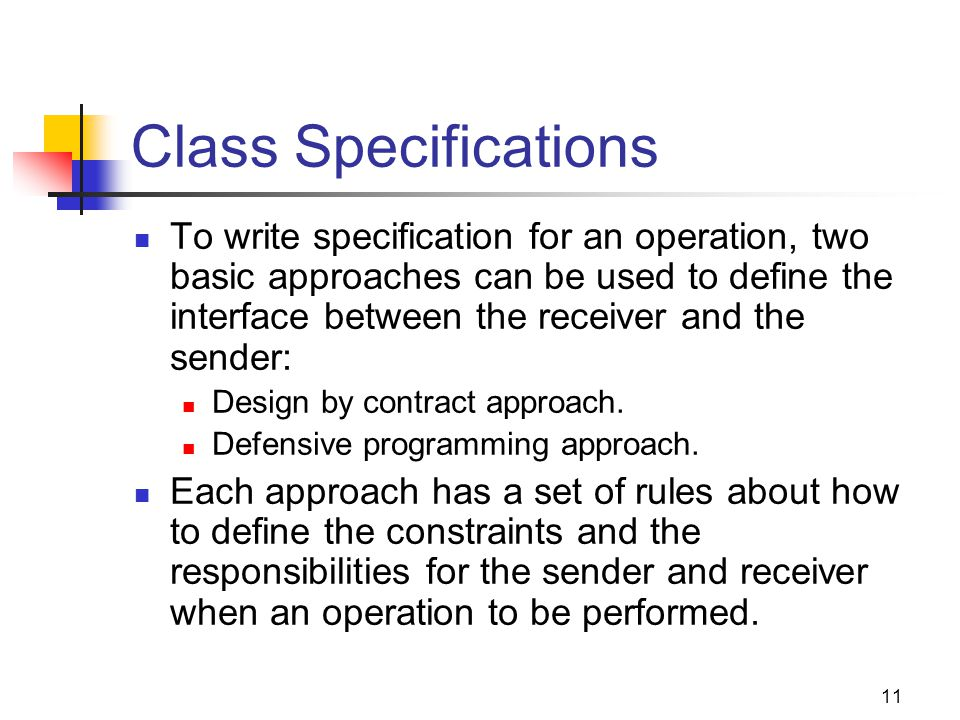 Class Specifications
