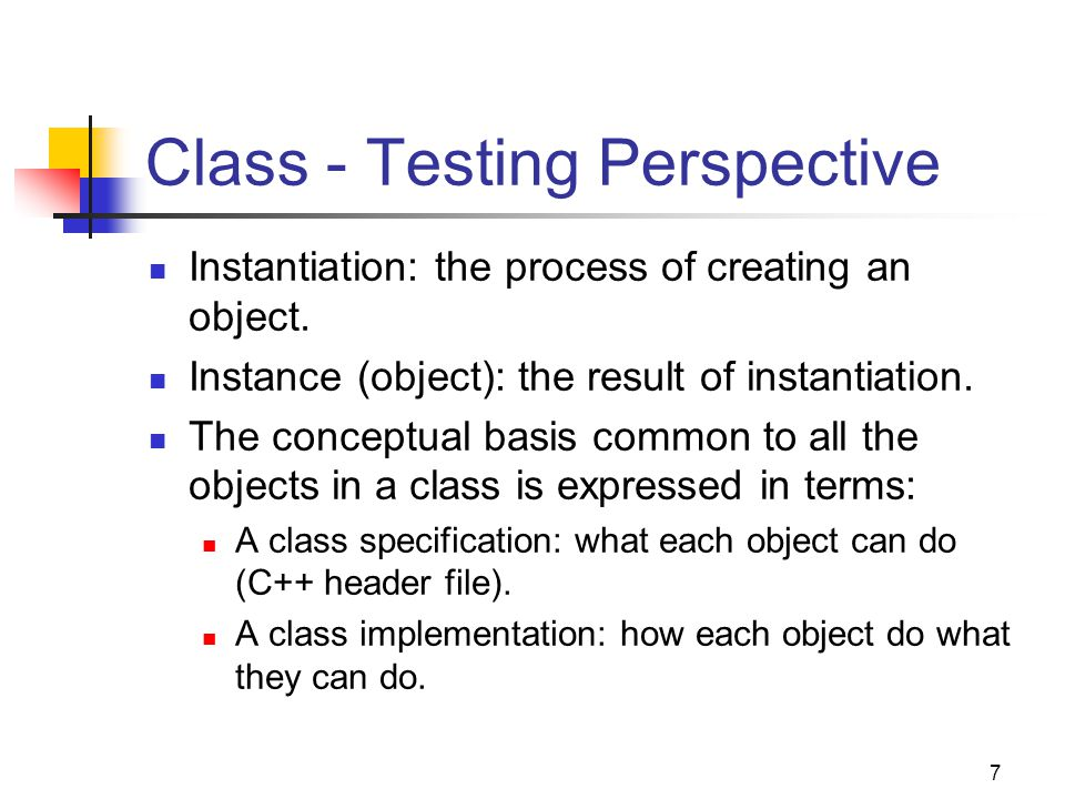 Class - Testing Perspective