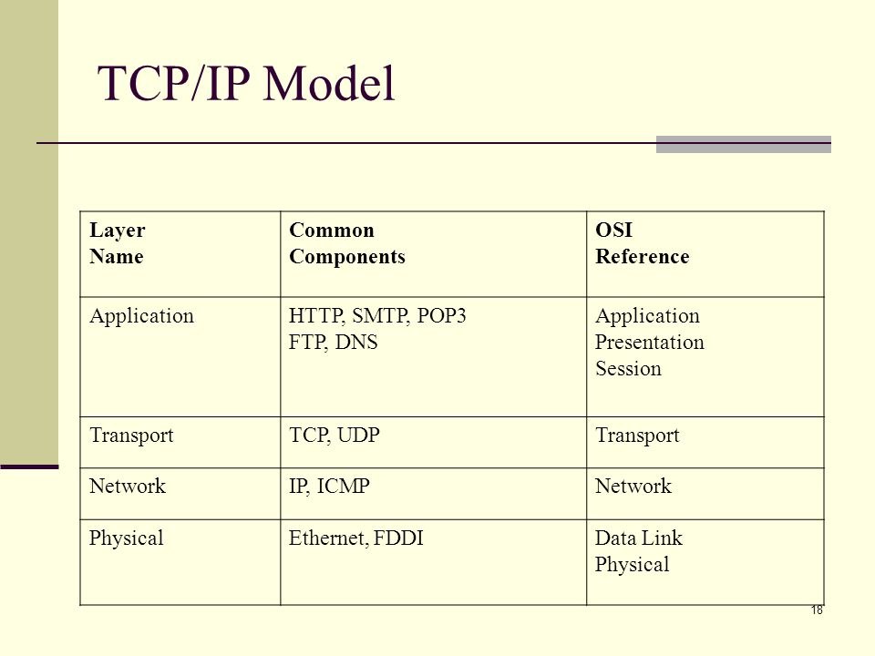 TCP/IP Model Layer Name Common Components OSI Reference Application