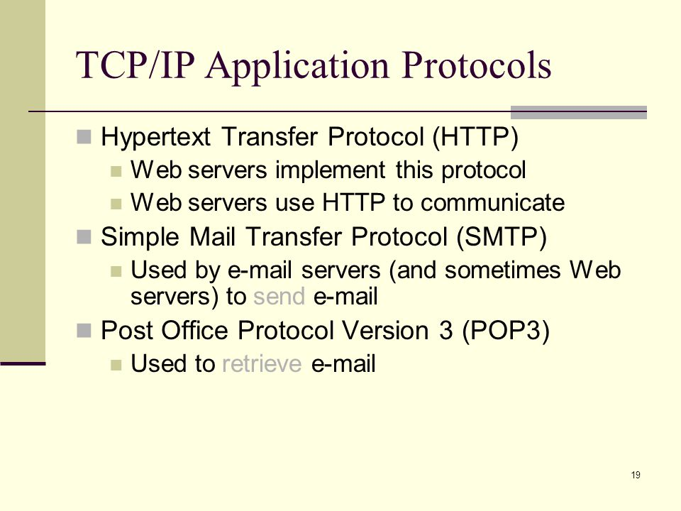 TCP/IP Application Protocols