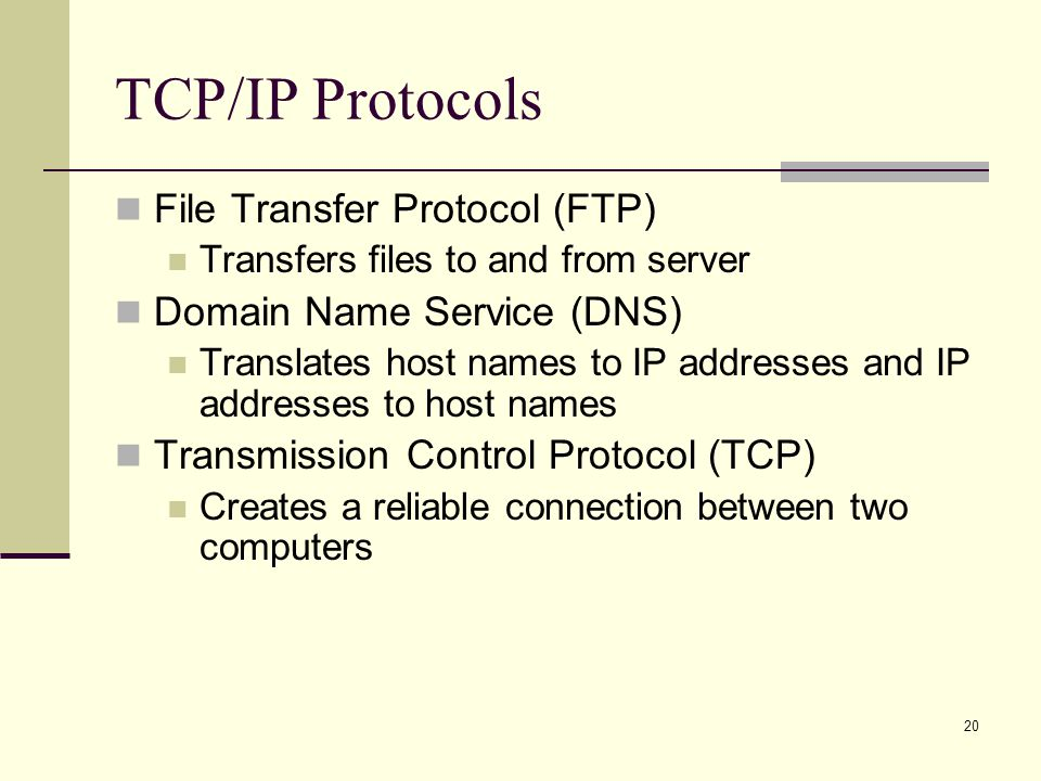 TCP/IP Protocols File Transfer Protocol (FTP)