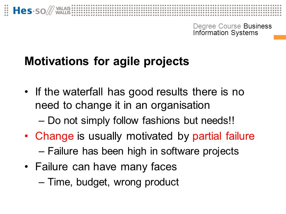 Motivations for agile projects