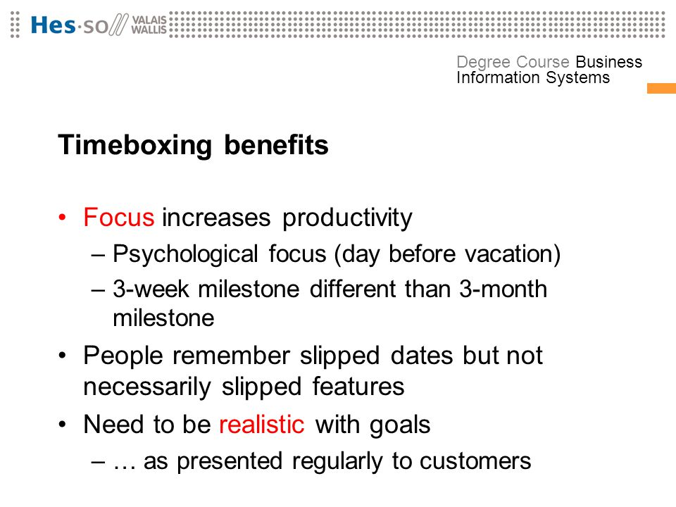 Timeboxing benefits Focus increases productivity