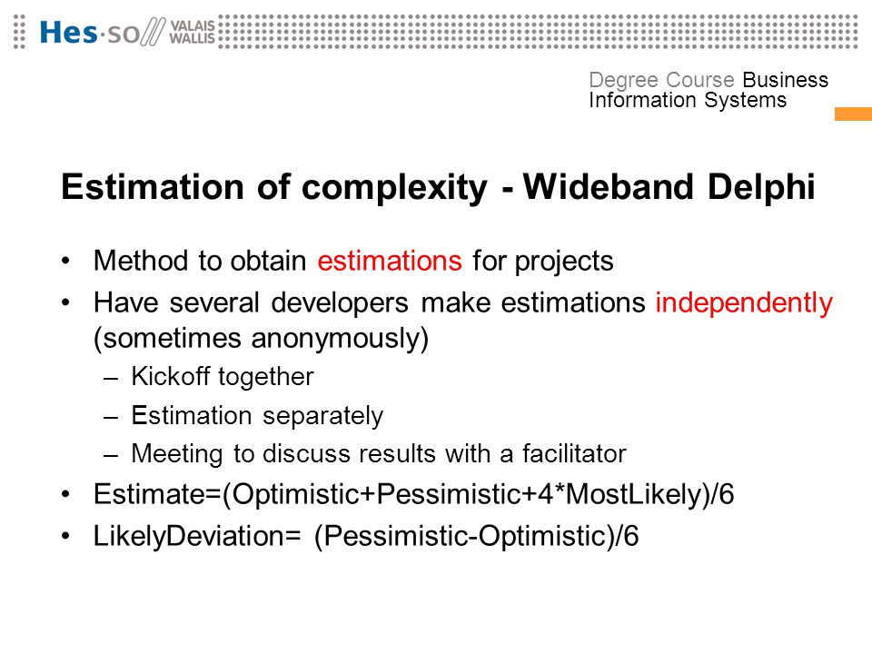 Estimation of complexity - Wideband Delphi