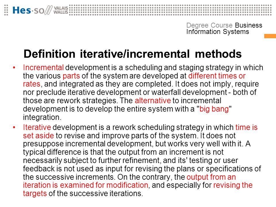 Definition iterative/incremental methods