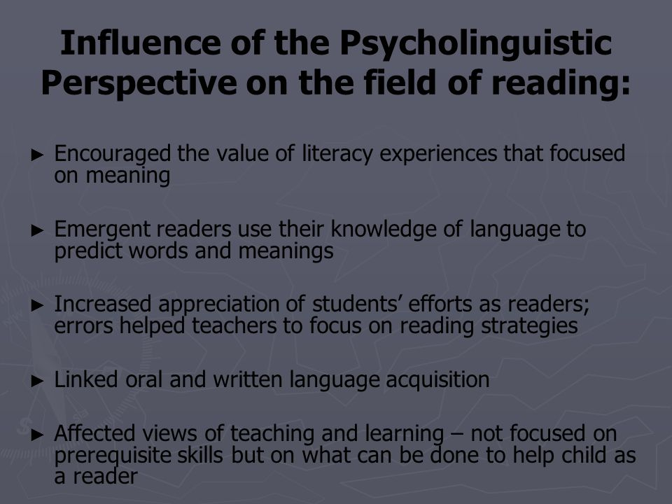 Influence of the Psycholinguistic Perspective on the field of reading:
