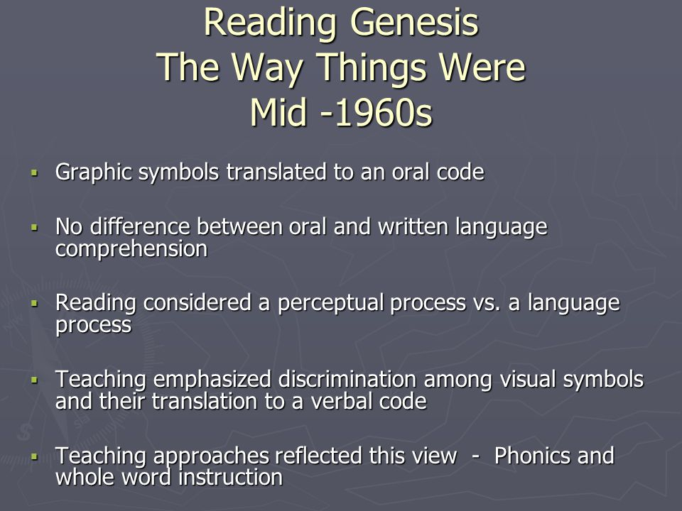 Reading Genesis The Way Things Were Mid -1960s