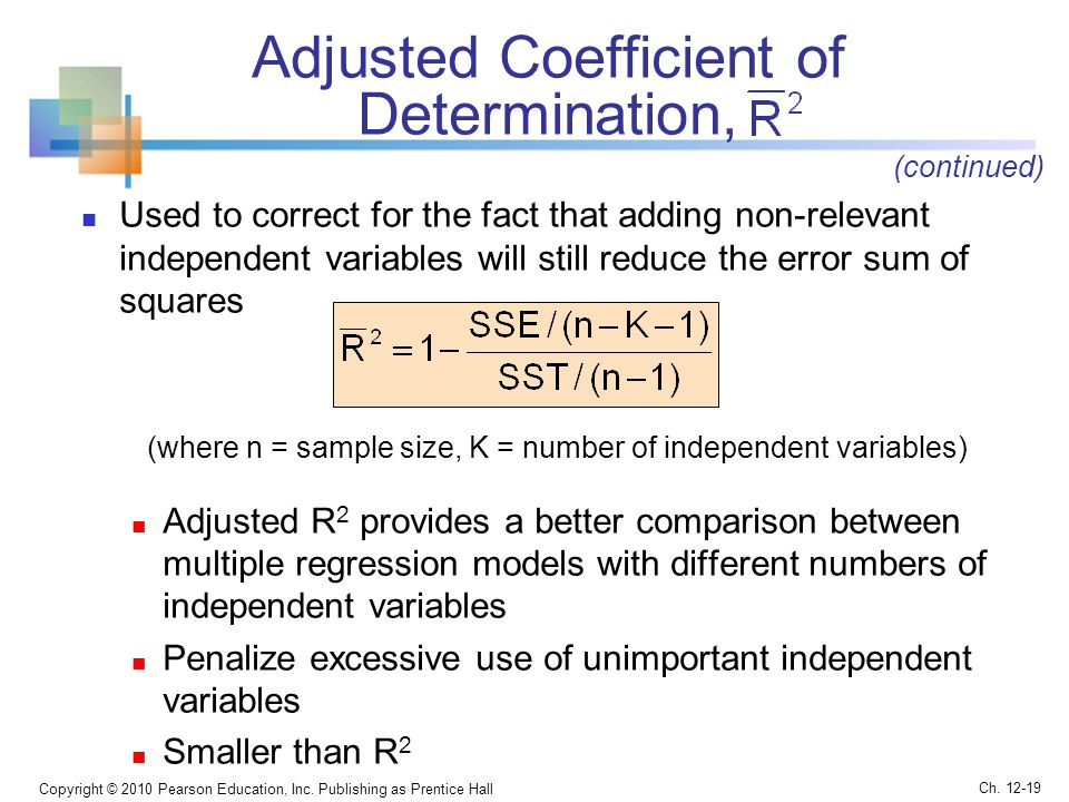 Adjusted Coefficient of Determination,