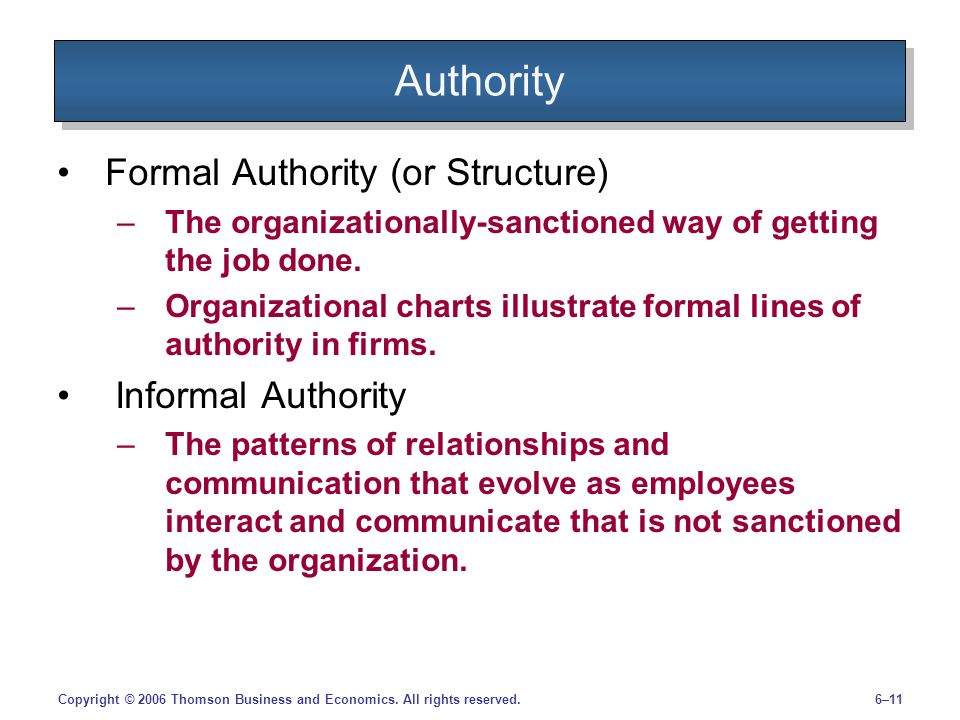 Authority Formal Authority (or Structure) Informal Authority