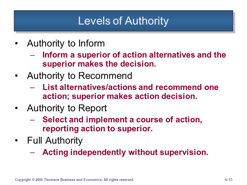 Levels of Authority Authority to Inform Authority to Recommend