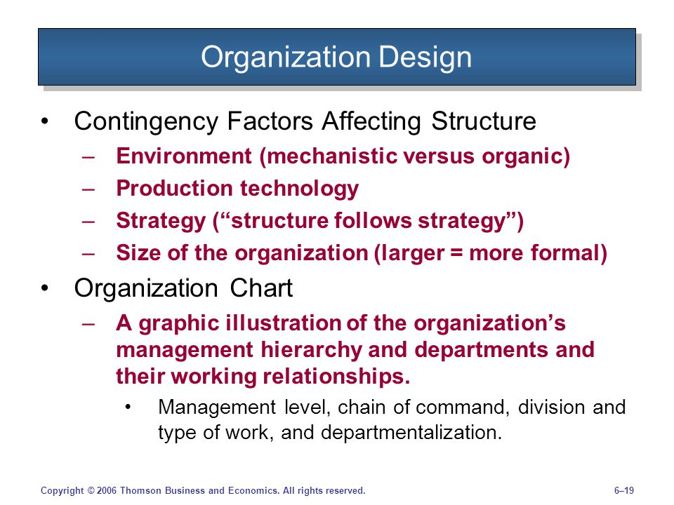 Organization Design Contingency Factors Affecting Structure