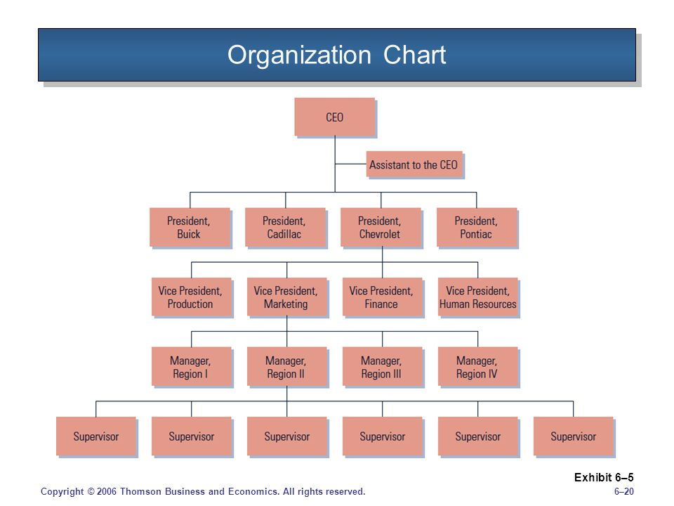 Organization Chart Exhibit 6–5