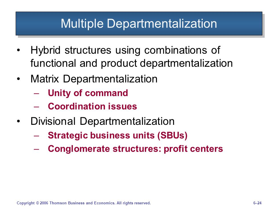 Multiple Departmentalization