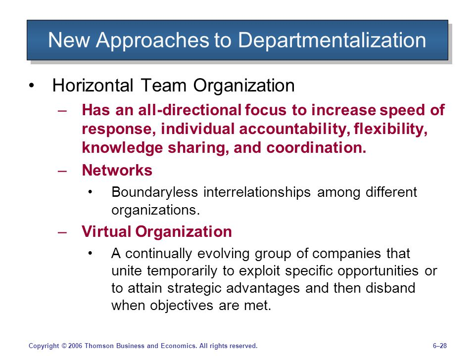 New Approaches to Departmentalization