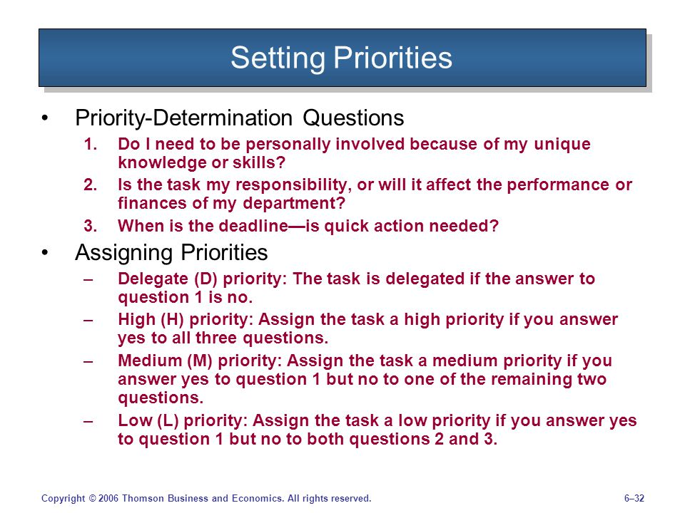 Setting Priorities Priority-Determination Questions