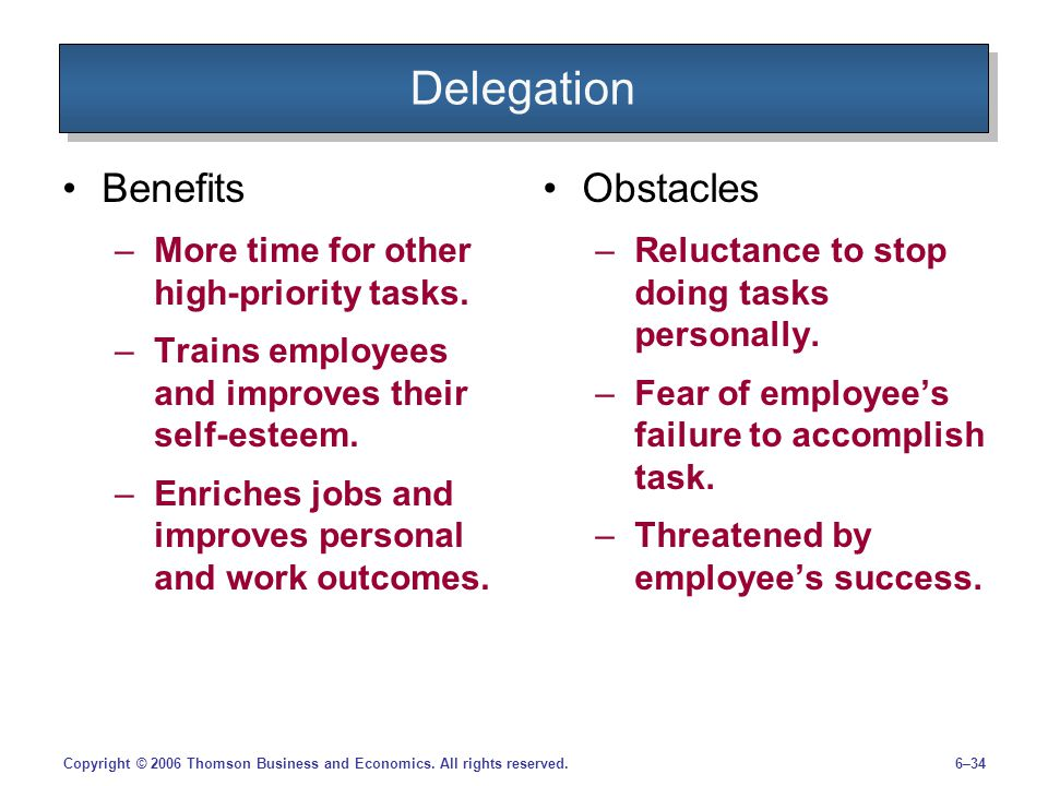 Delegation Benefits Obstacles More time for other high-priority tasks.