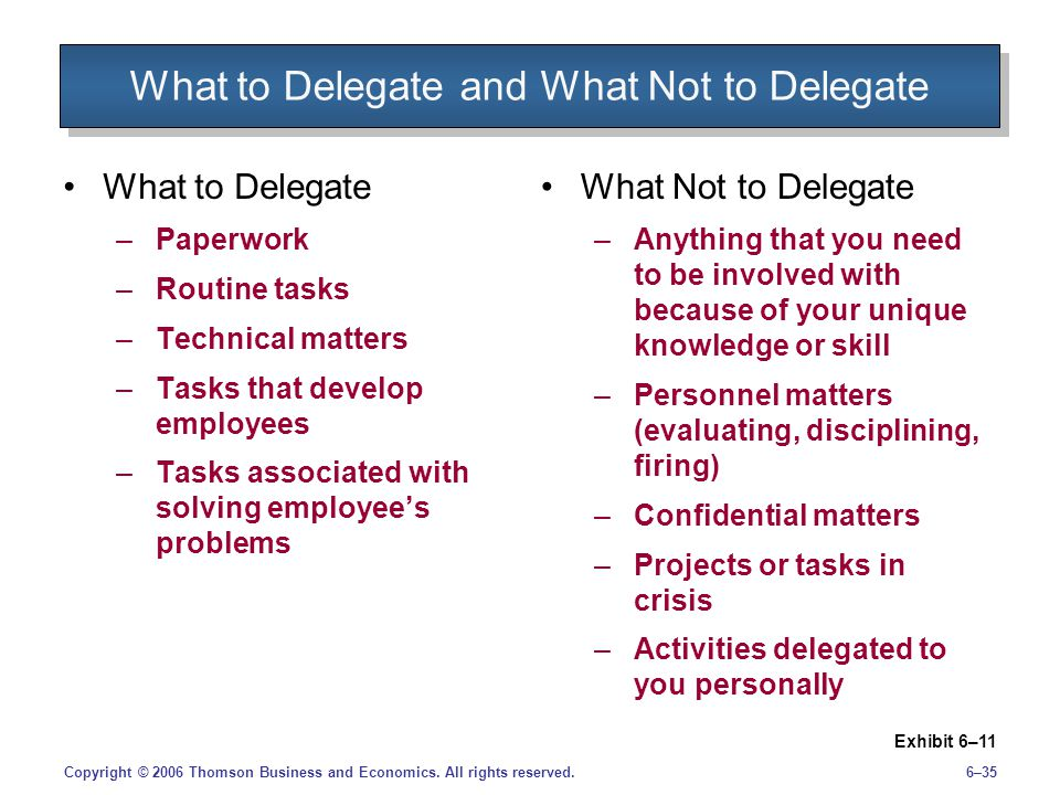 What to Delegate and What Not to Delegate