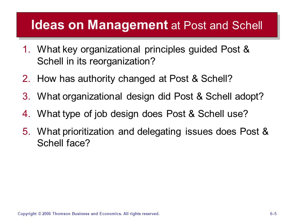Ideas on Management at Post and Schell