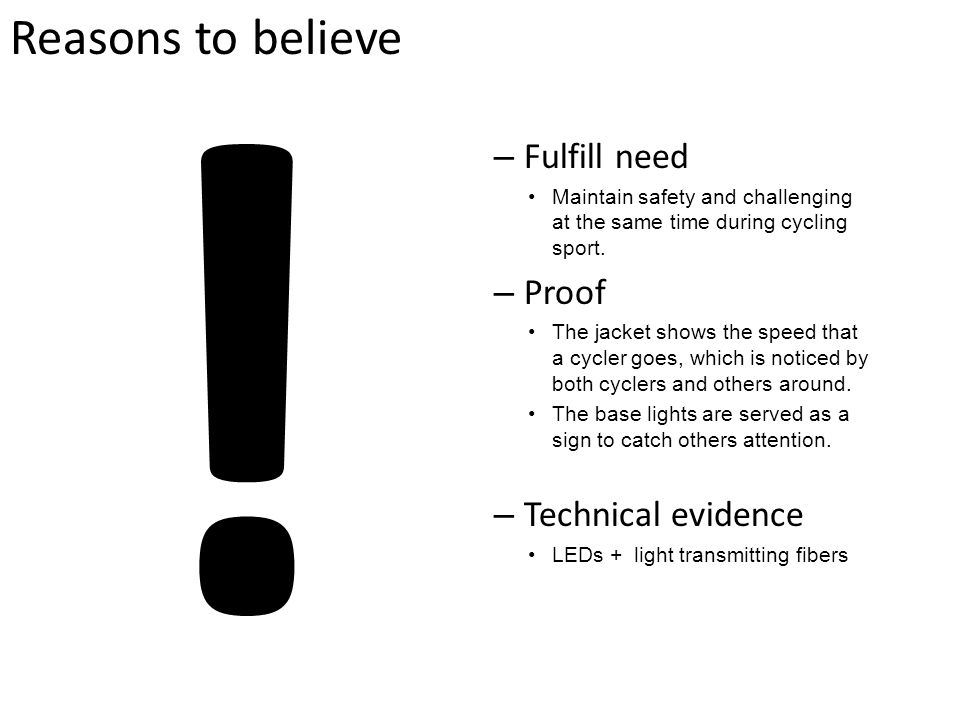 ! Reasons to believe Fulfill need Proof Technical evidence