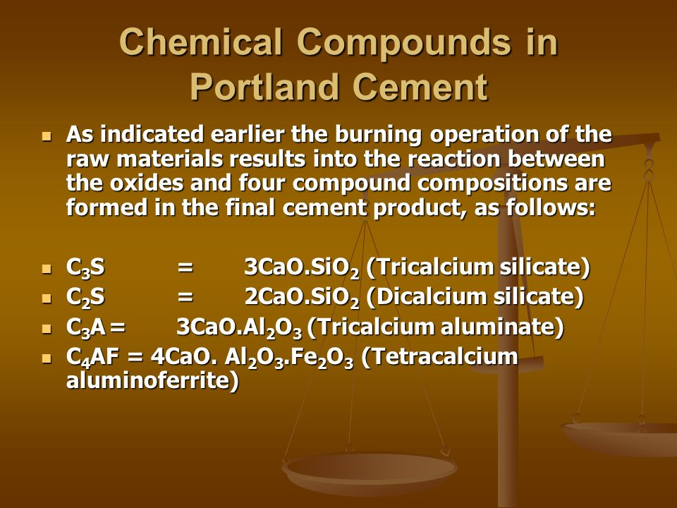 Chemical Compounds in Portland Cement