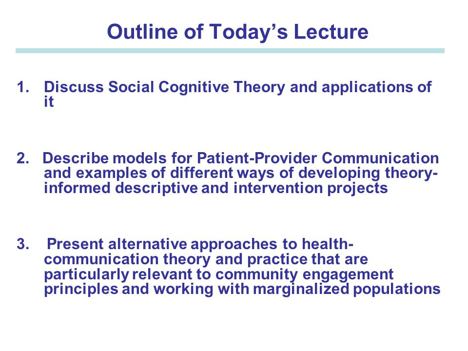 Epi 246 Social Cognitive Theory Models Of Patient Provider