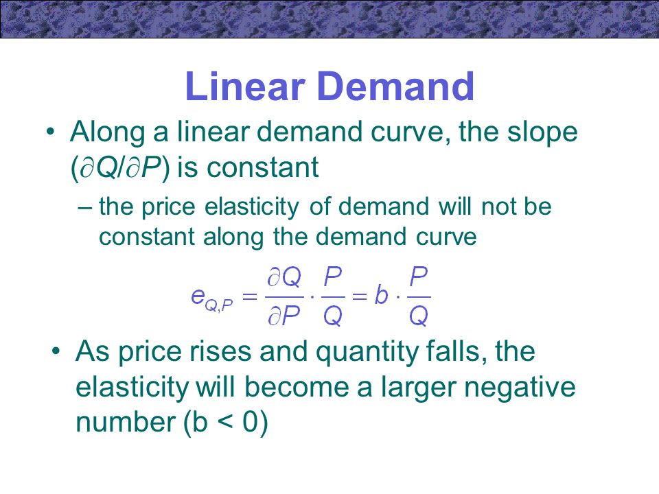 Linear Demand Along a linear demand curve, the slope (Q/P) is constant. the price elasticity of demand will not be constant along the demand curve.