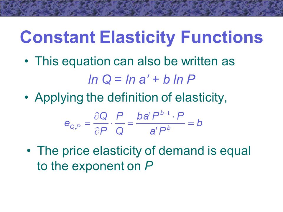 Constant Elasticity Functions