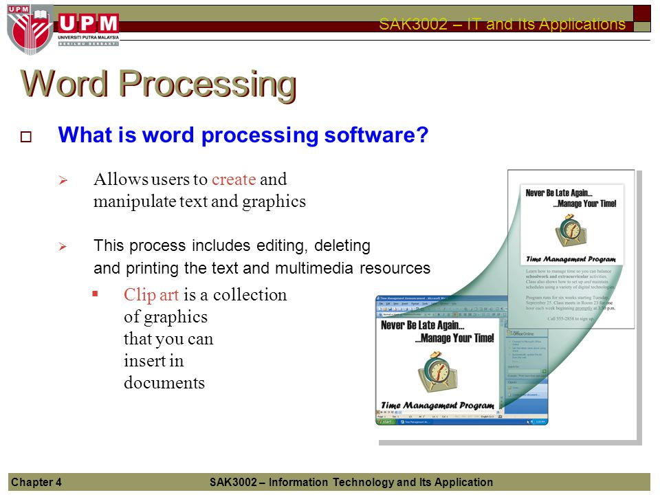 4 APPLICATION SOFTWARE Chapter - ppt video online download