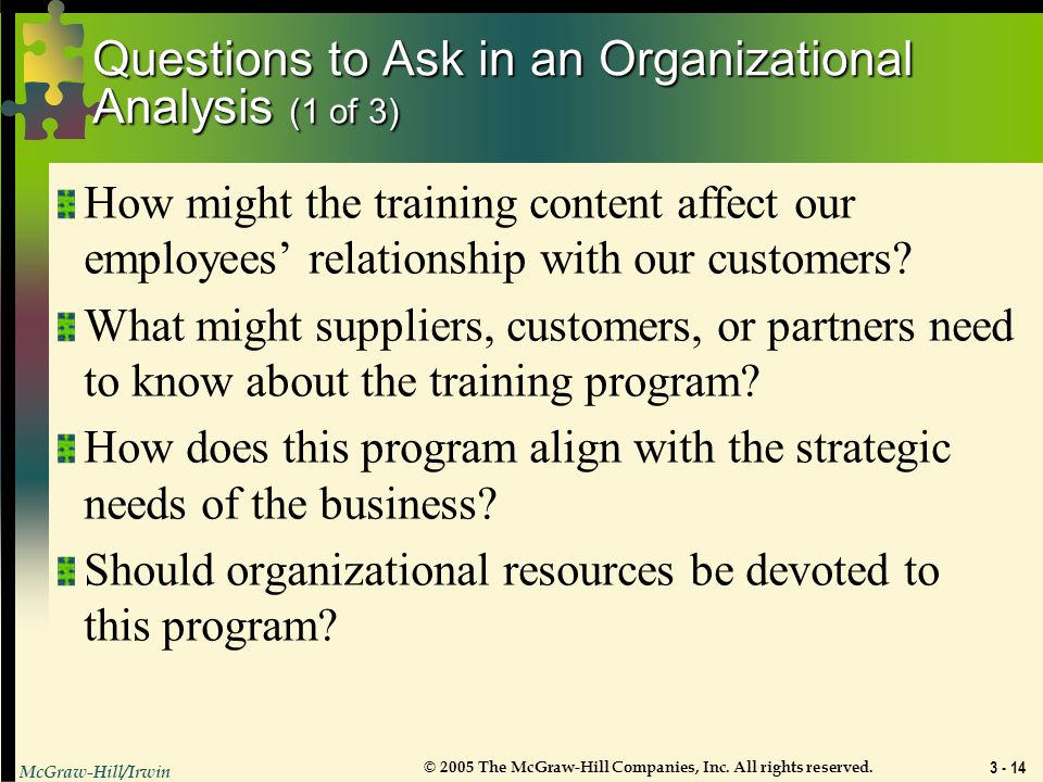 Questions to Ask in an Organizational Analysis (1 of 3)