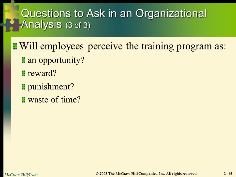 Questions to Ask in an Organizational Analysis (3 of 3)