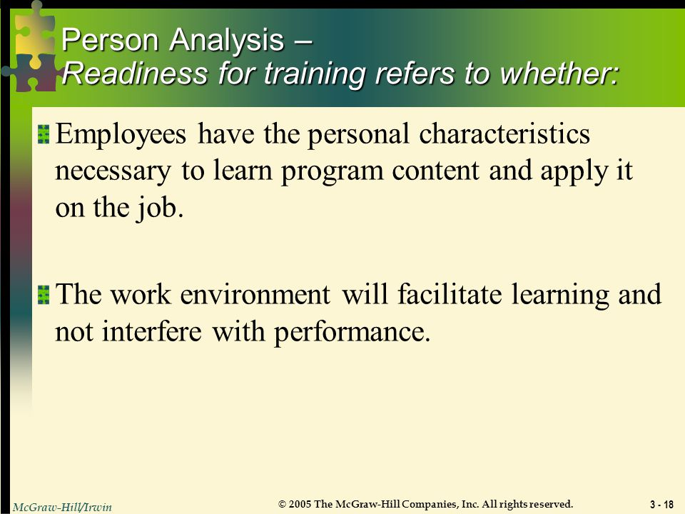Person Analysis – Readiness for training refers to whether: