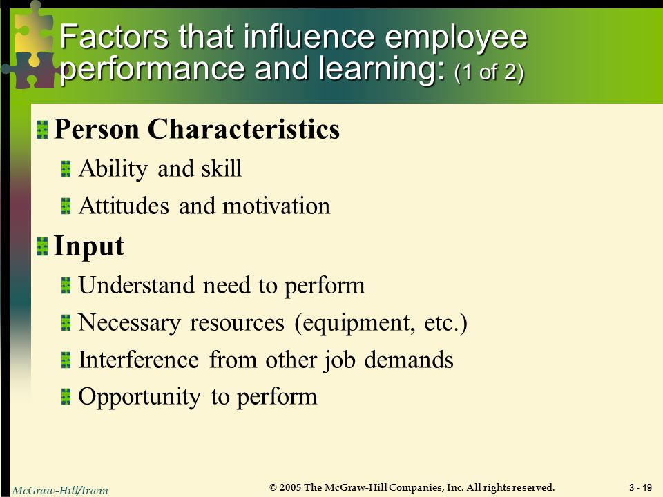 Factors that influence employee performance and learning: (1 of 2)