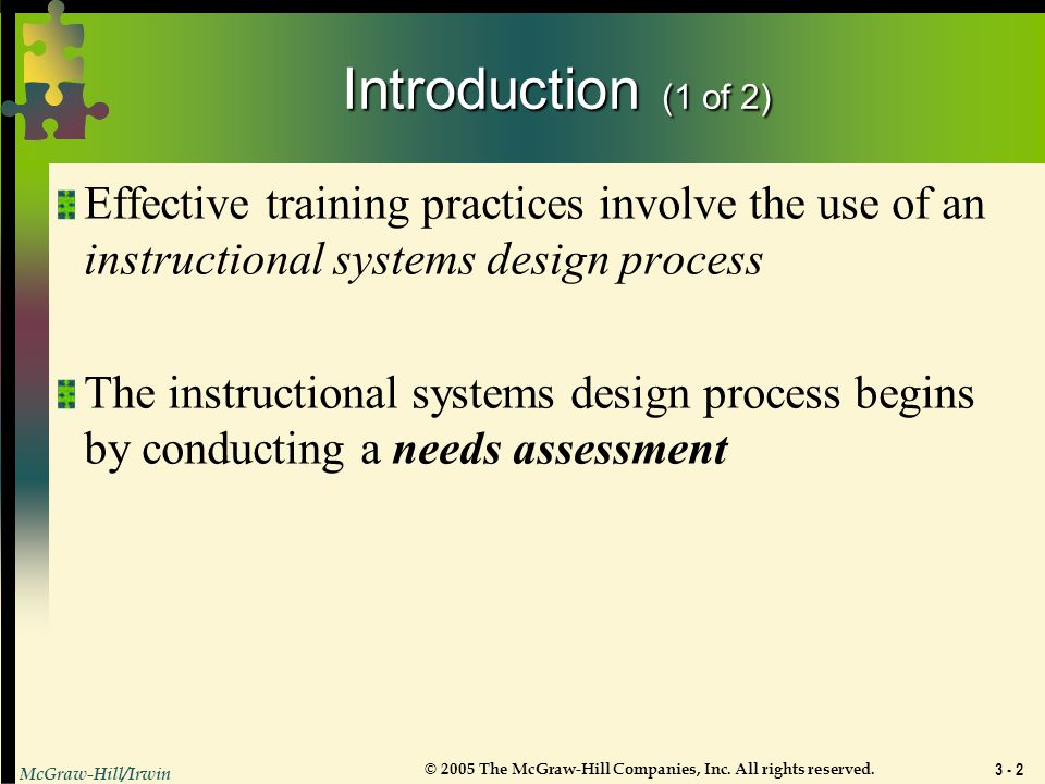 Introduction (1 of 2) Effective training practices involve the use of an instructional systems design process.