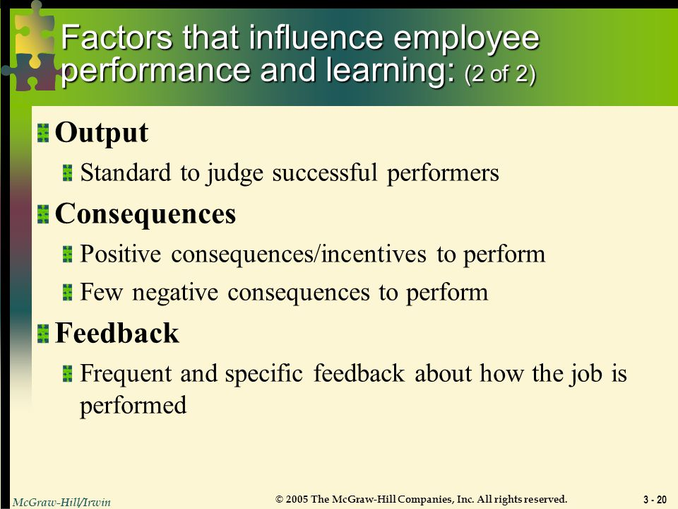 Factors that influence employee performance and learning: (2 of 2)