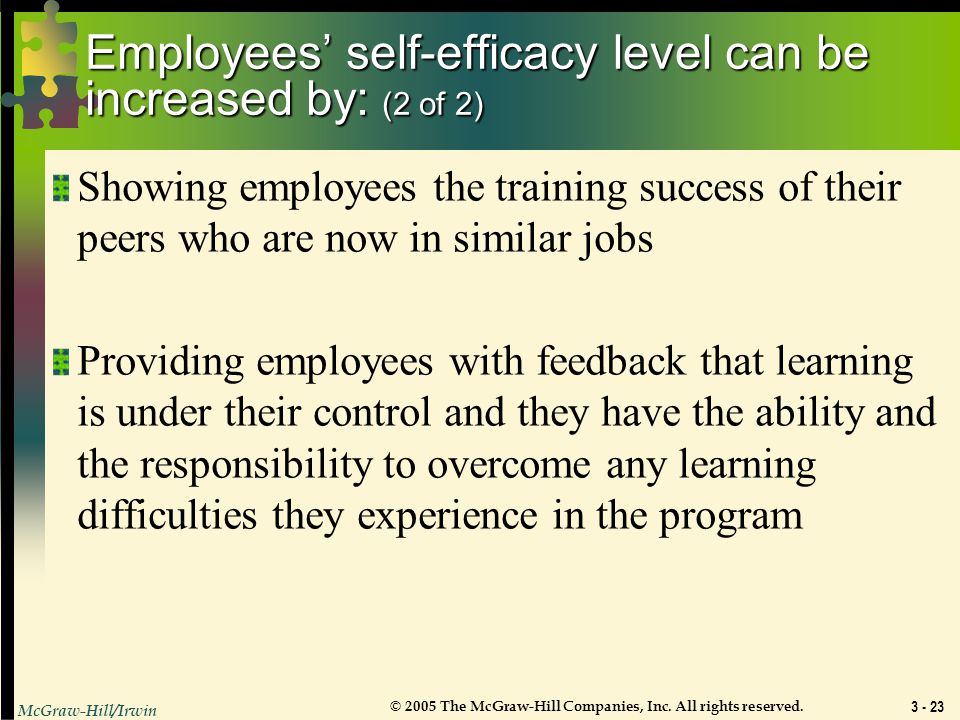 Employees' self-efficacy level can be increased by: (2 of 2)