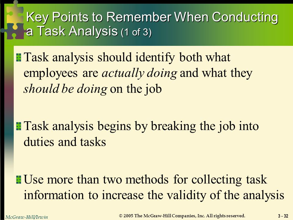 Key Points to Remember When Conducting a Task Analysis (1 of 3)