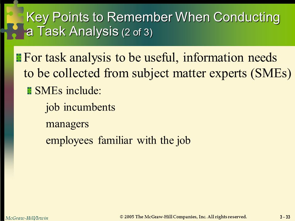 Key Points to Remember When Conducting a Task Analysis (2 of 3)