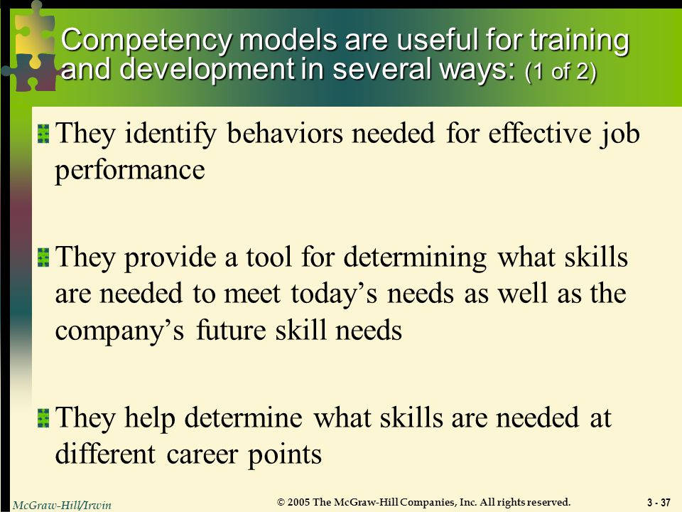 Competency models are useful for training and development in several ways: (1 of 2)